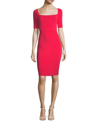 Milly Short-Sleeve Square-Neck Sheath Dress