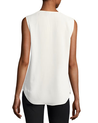 Image 2 of 2: Crossover Silk Shell Top