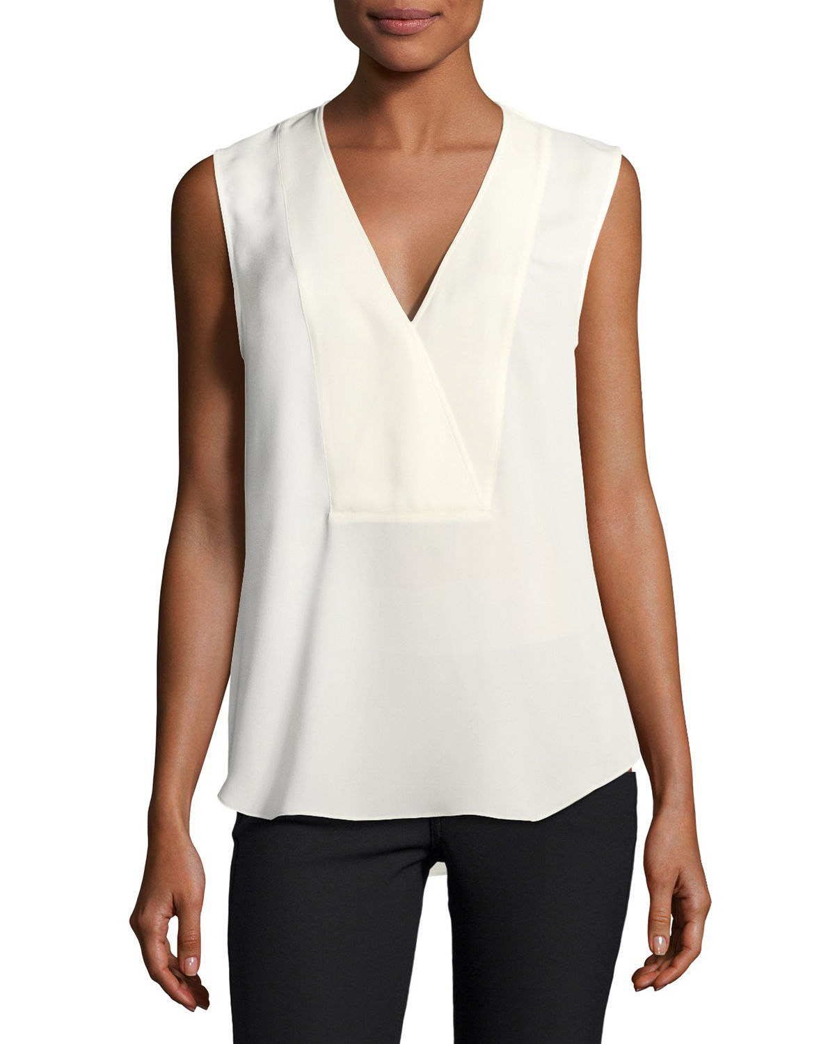 Crossover Silk Shell Top
