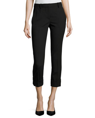 Crop Mid-Rise Cuff Pants