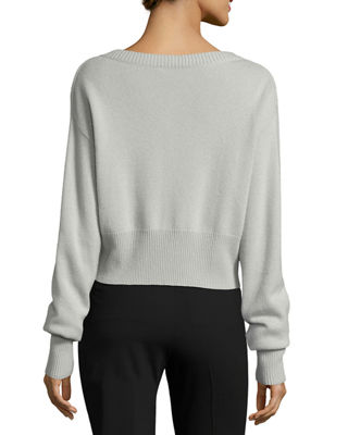 Image 2 of 2: Boat-Neck Long-Sleeve Relaxed Cashmere Sweater