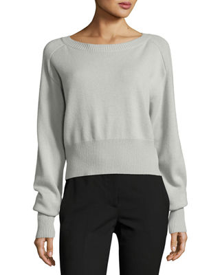 Image 1 of 2: Boat-Neck Long-Sleeve Relaxed Cashmere Sweater