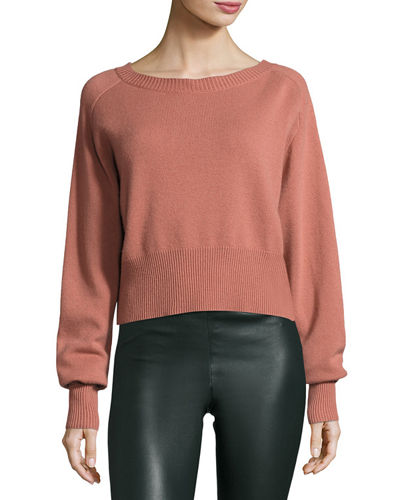 Theory Boat-Neck Long-Sleeve Relaxed Cashmere Sweater and