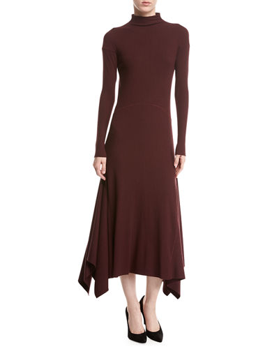 Theory Rib-Knit Panel Handkerchief-Hem Sweater Dress