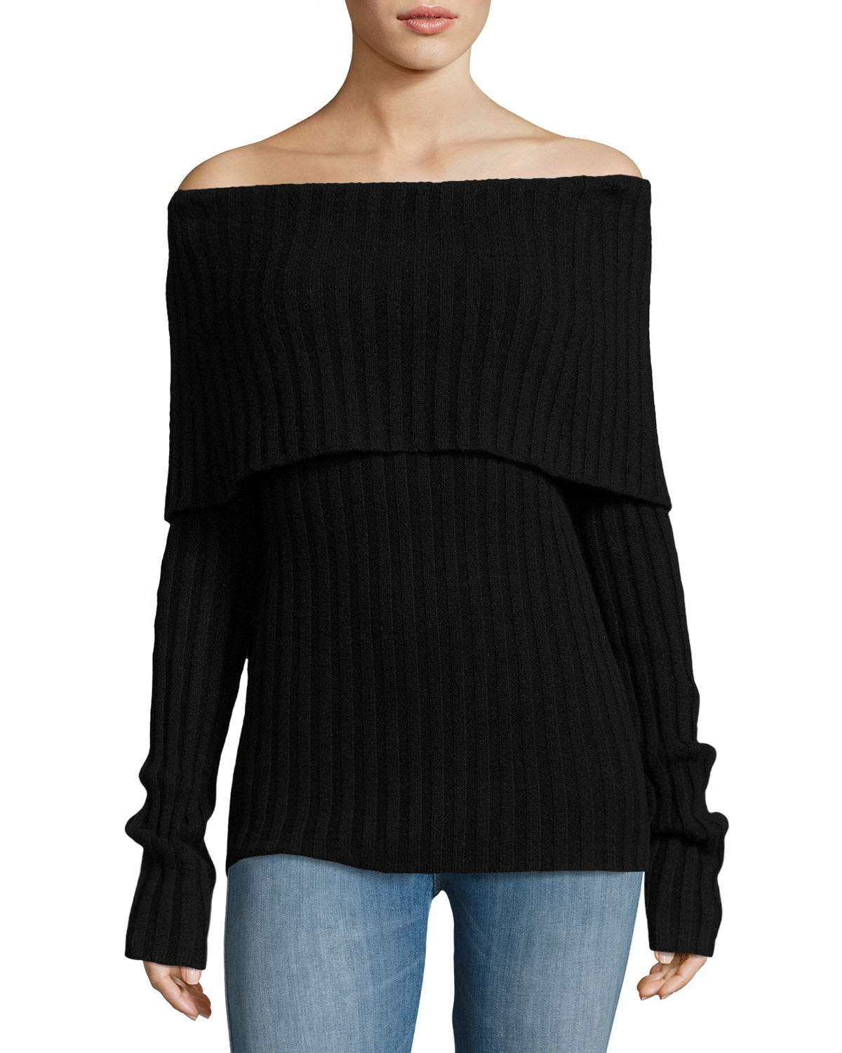 Off-the-Shoulder Fold-Over Cashmere Sweater