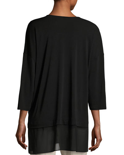 3/4-Sleeve Silk Jersey Blouse