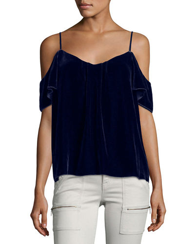 Adorlee E Cold-Shoulder Velvet Top
