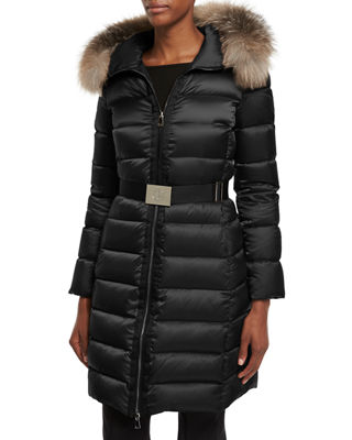 Image 1 of 4: Tinuviel Shiny Quilted Puffer Coat w/Fur Hood