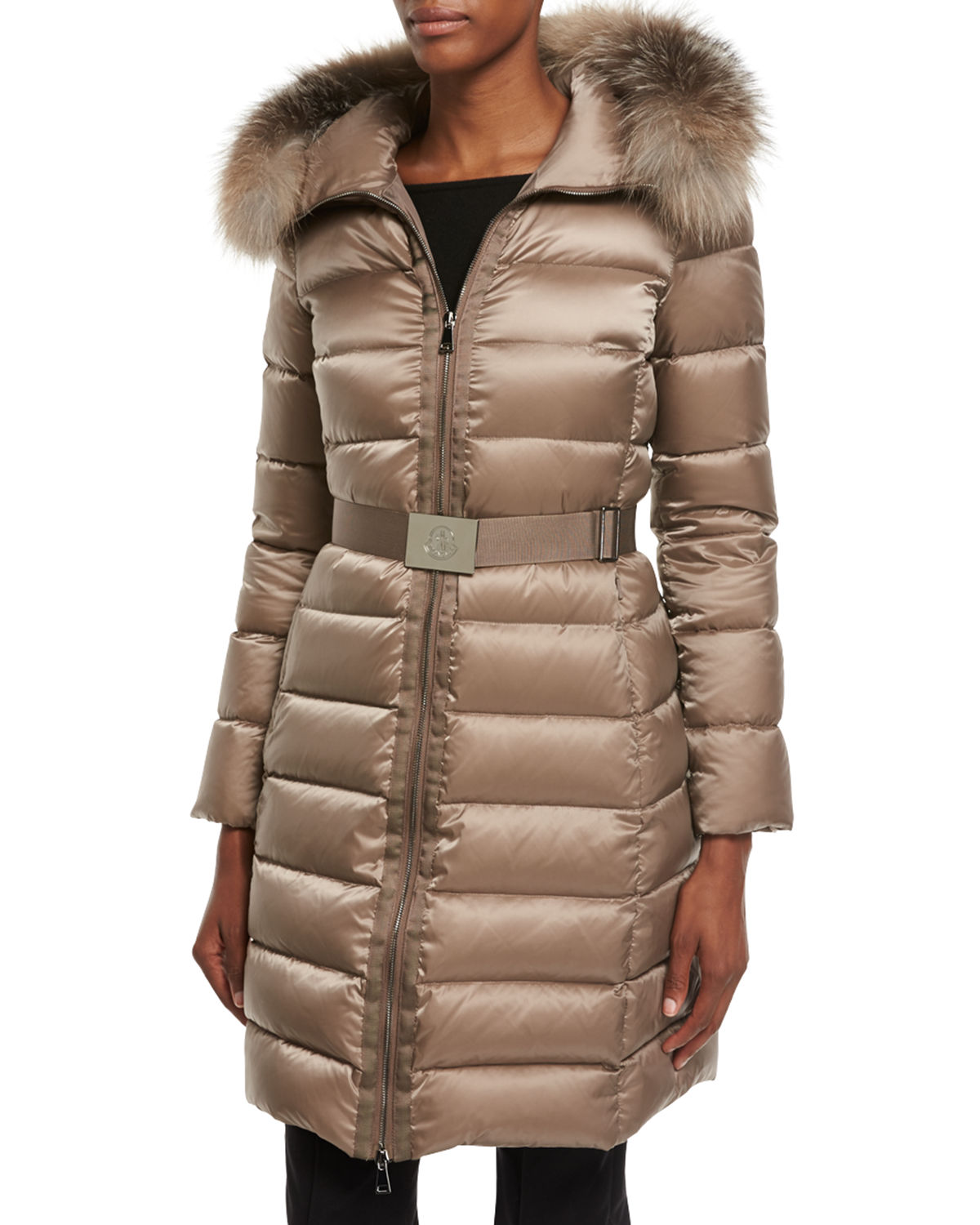 bca98e688 Tinuviel Shiny Quilted Puffer Coat w/Fur Hood
