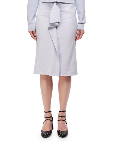 Carven High-Rise Deconstructed Pencil Skirt w/ Ruffle and