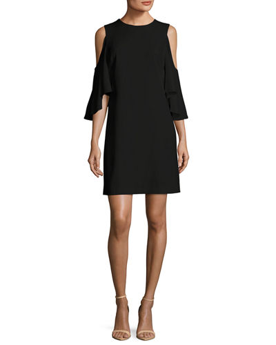 Alice + Olivia Coley Cold-Shoulder Jewel-Neck A-line Cocktail
