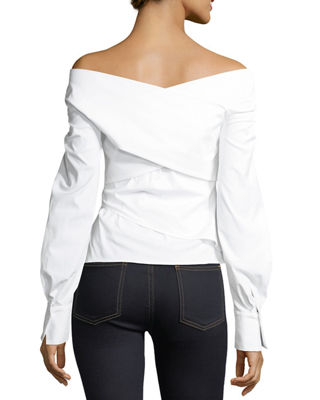 Image 2 of 2: Bateau-Neck Wrapped Stretch-Cotton Top