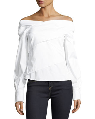 Image 1 of 2: Bateau-Neck Wrapped Stretch-Cotton Top