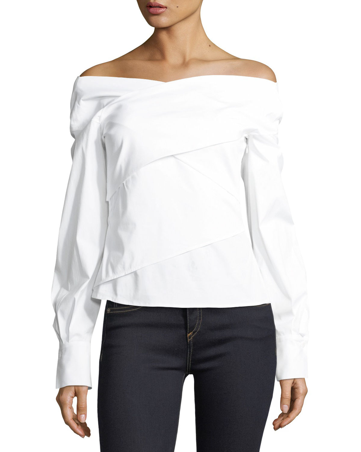 Bateau-Neck Wrapped Stretch-Cotton Top