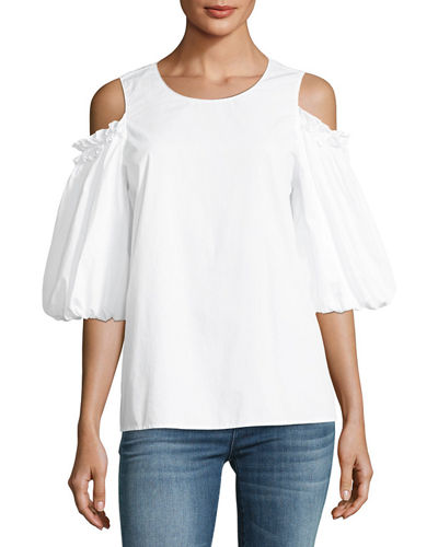 Crispy Poplin Cold-Shoulder Top