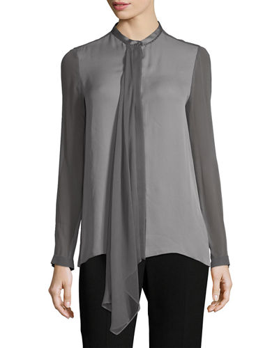 Elie Tahari Vincenza Long-Sleeve Sheer Silk Blouse and