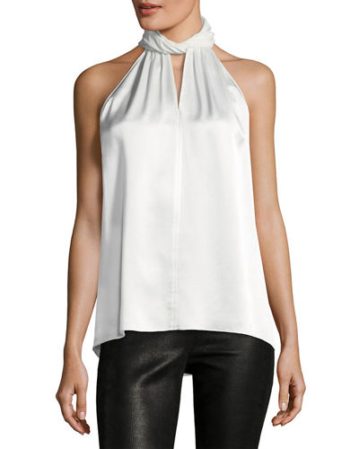 Elie Tahari Elastia Sleeveless High-Neck Silk Blouse