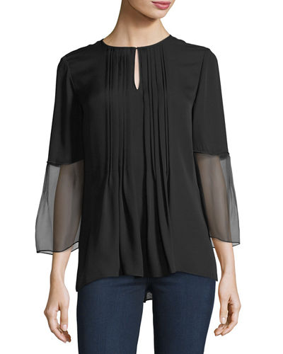 Elie Tahari Orion 3/4-Sleeve Pleated Silk Blouse