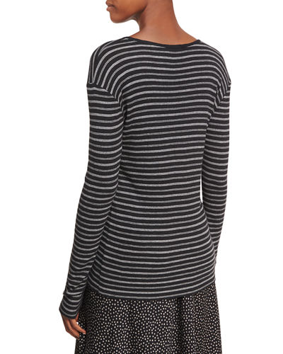 Double-Stripe Long-Sleeve Crewneck Tee