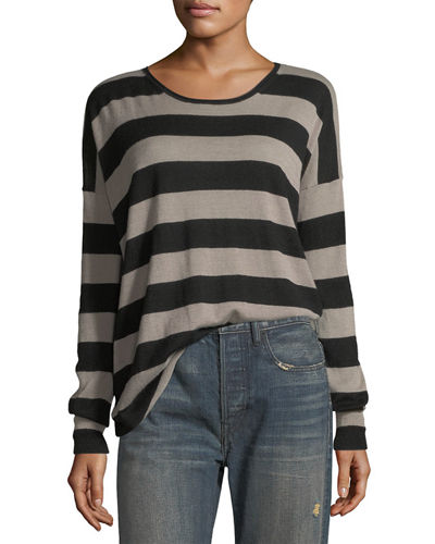 Wide-Striped Long-Sleeve Oversized Tee