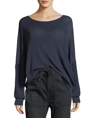 Vince Drop-Shoulder Boat-Neck Wool Sweater