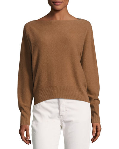 Vince Boat-Neck Long-Sleeve Cashmere Sweater and Matching Items