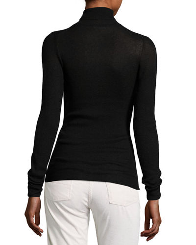 Skinny Rib-Knit Cashmere Turtleneck Sweater