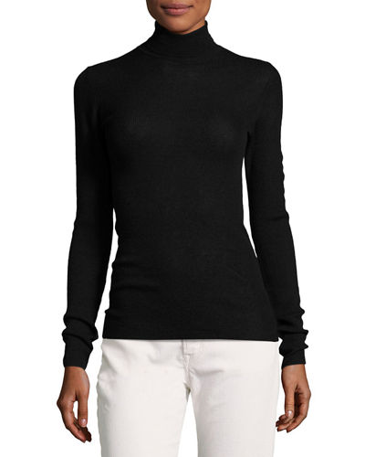 Vince Skinny Rib-Knit Cashmere Turtleneck Sweater and Matching