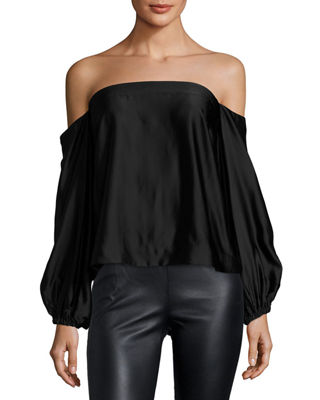 Elizabeth and James Nolita Long-Sleeve Off-the-Shoulder Satin Top