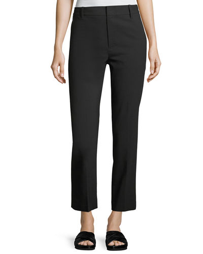 Tapered Mid-Rise Straight-Leg Wool Trousers
