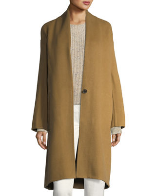 Vince High-Collar Crossover-Front Wool Top Coat