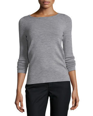 Lafayette 148 New York Ribbed Bateau-Neck Merino Wool