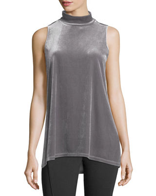 Elie Tahari Murray Sleeveless Mock-Neck Velvet Top