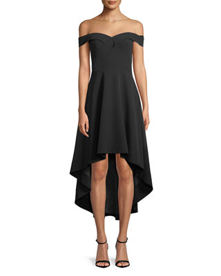 Aidan by Aidan Mattox Off-the-Shoulder High-Low Crepe Cocktail