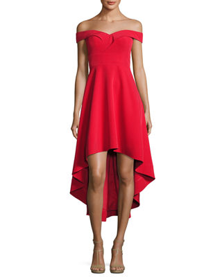 Off-the-Shoulder High-Low Crepe Cocktail Dress