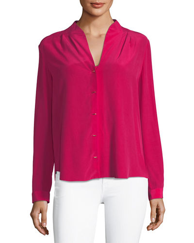 Bea Long-Sleeve Button-Front Blouse