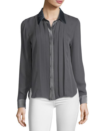 Elie Tahari Izarra Long-Sleeve Satin-Trim Silk Blouse