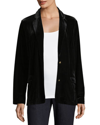 Stretch-Velvet Two-Button Blazer, Petite