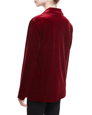 Image 3 of 4: Stretch-Velvet Two-Button Blazer, Plus Size