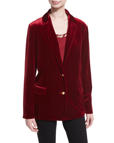 Joan Vass Stretch-Velvet Two-Button Blazer, Plus Size and