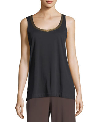 Joan Vass Scoop-Neck Sequin Trim Tank