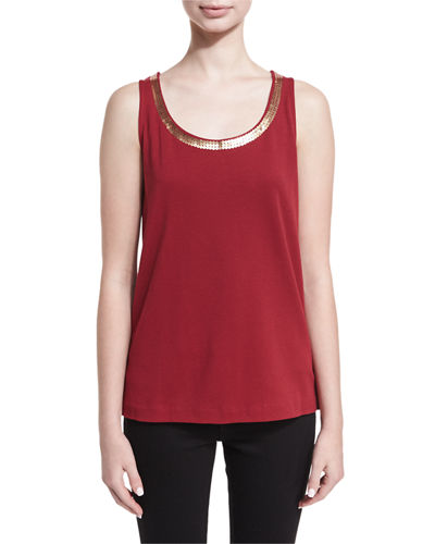 Joan Vass Scoop-Neck Sequin Trim Tank and Matching