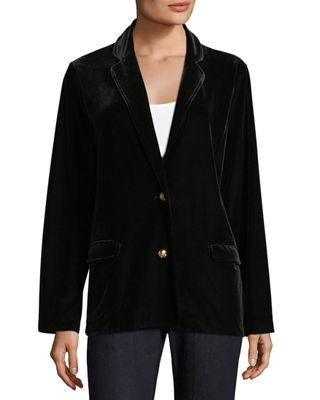 Joan Vass Stretch-Velvet Two-Button Blazer