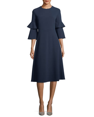 Stretch-Crepe Bell-Sleeve Cocktail Midi Dress