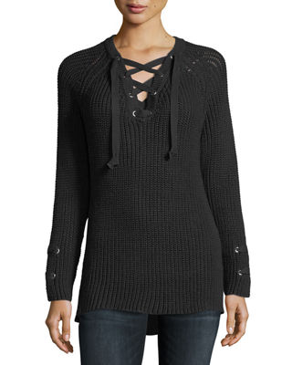 PURE HANDKNIT Boundless Lace-Up Sweater in Black