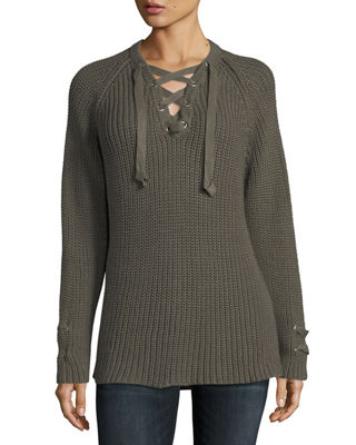 PURE HANDKNIT Boundless Lace-Up Sweater, Plus Size in Fern