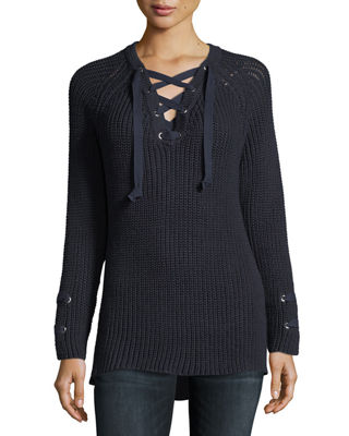 PURE HANDKNIT Boundless Lace-Up Sweater, Plus Size in Midnight