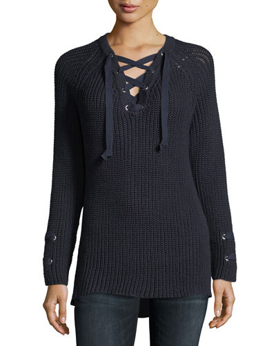Plus Size Boundless Lace-Up Sweater