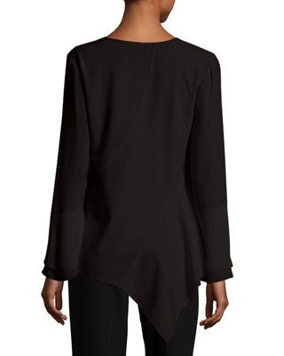 Image 2 of 3: Reeva Long-Sleeve Seamed Knit Blouse