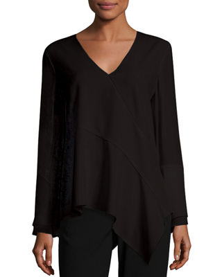 Image 1 of 3: Reeva Long-Sleeve Seamed Knit Blouse